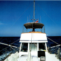 """From the bow looking back. Those metal rods on either side are the """"Flopperstoppers."""""""