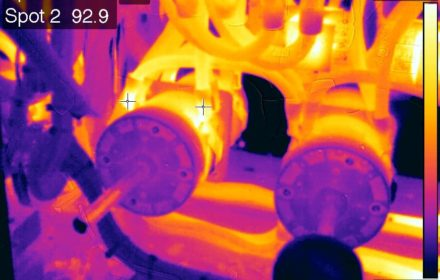 This infrared image shows elevated heat on one of two shore power connections. While still within safe parameters, the infrared camera shows how the heat concentrates at the points of resistance.